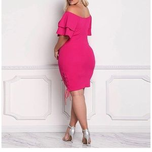 double layer bell pepper sleeved hot pink dress